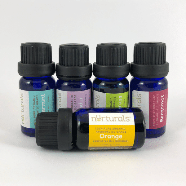 Nurturals Organic Therapeutic Grade Essential Oils for non-toxic house cleaning.